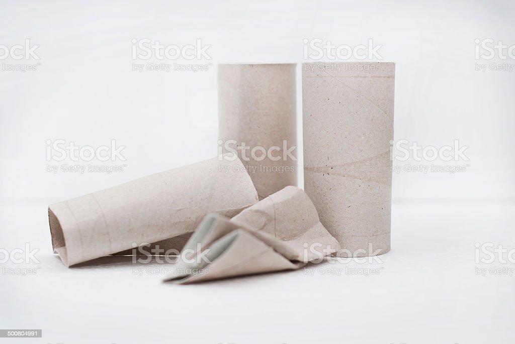 empty toilet paper rolls stock photo