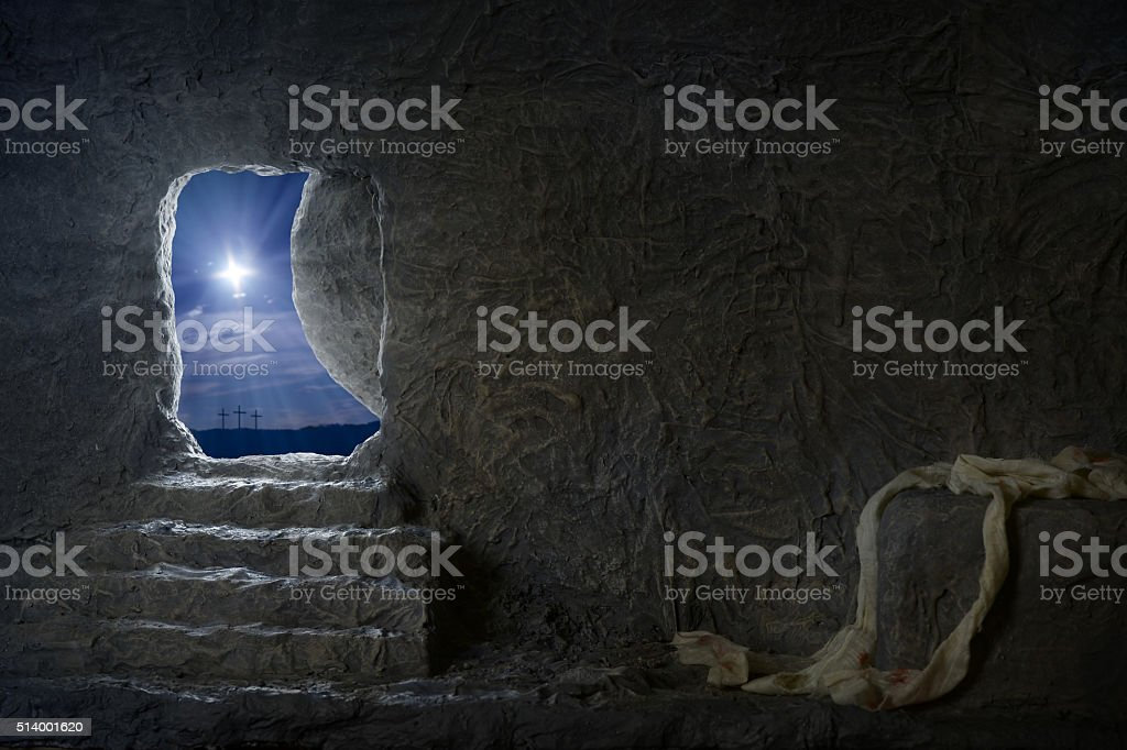 Empty Tomb of Jesus at Night stock photo