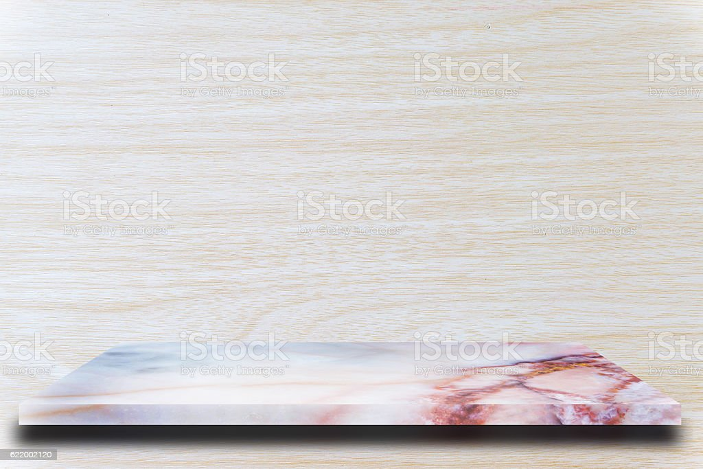 Empty top marble shelves and wooden wall background stock photo