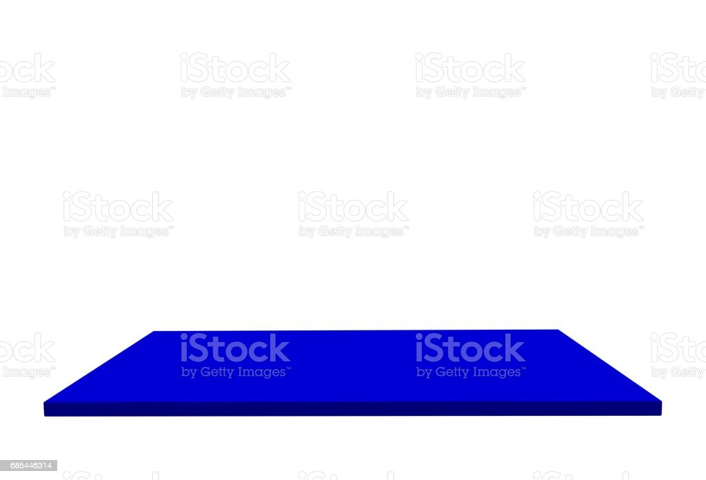 Empty top of blue medium gloss plastic table or counter isolated on white background. For product display, 3D rendering stock photo
