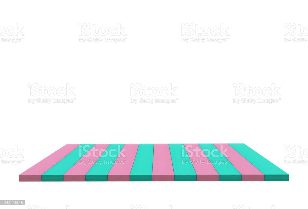 Empty top of pink and blue wood table or counter isolated on white background. For product display, 3D rendering stock photo