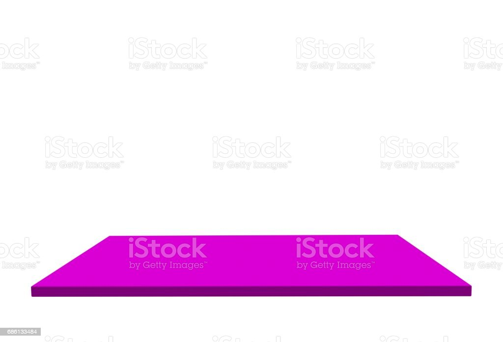 Empty top of pink medium gloss plastic table or counter isolated on white background. For product display, 3D rendering stock photo
