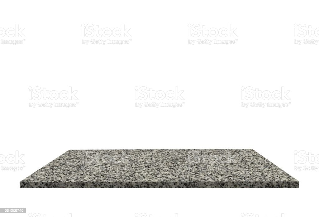 Empty top of stone granite table or counter isolated on white background. For product display stock photo