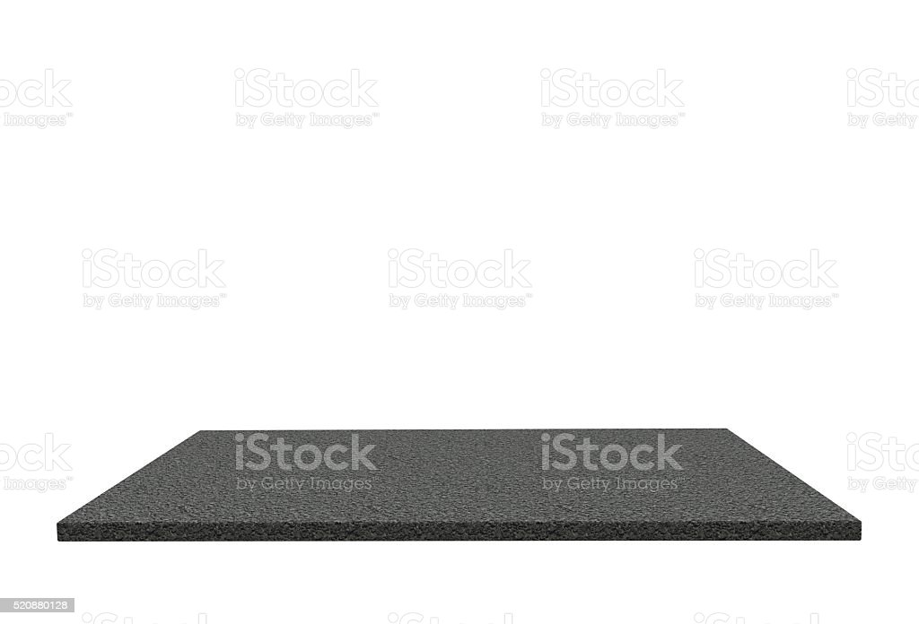 Empty top of stone paving asphalt table or counter isolated stock photo