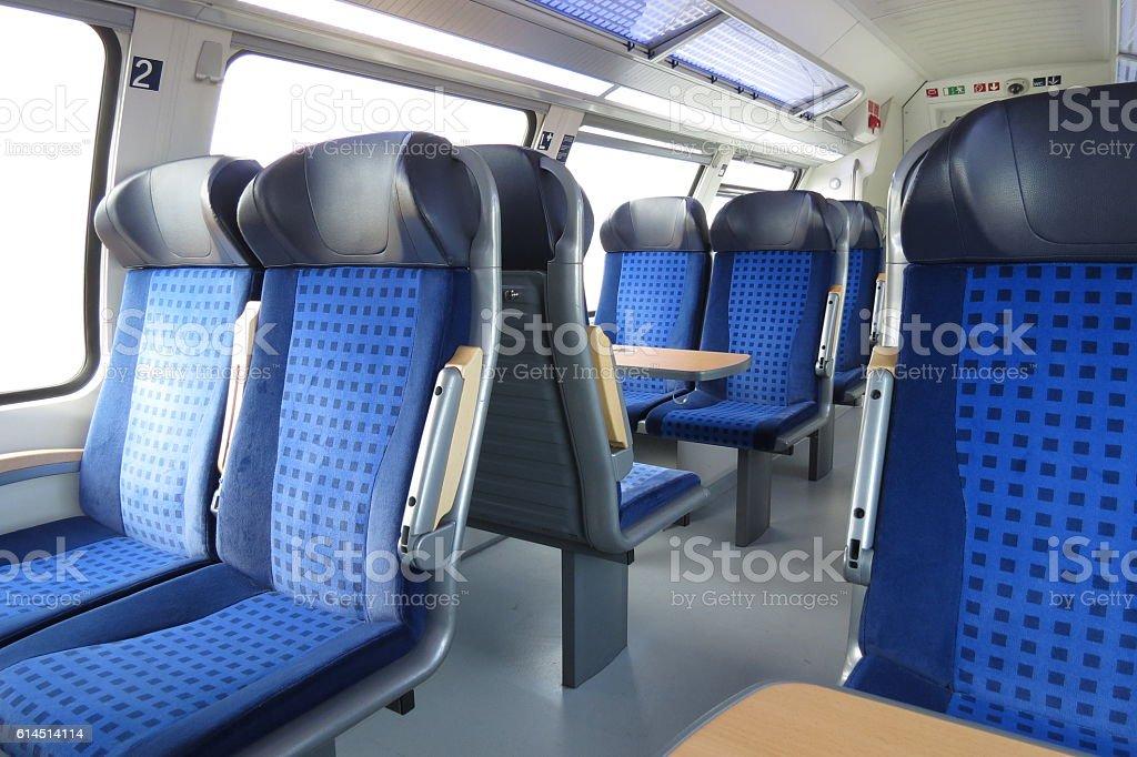 Empty train seats stock photo