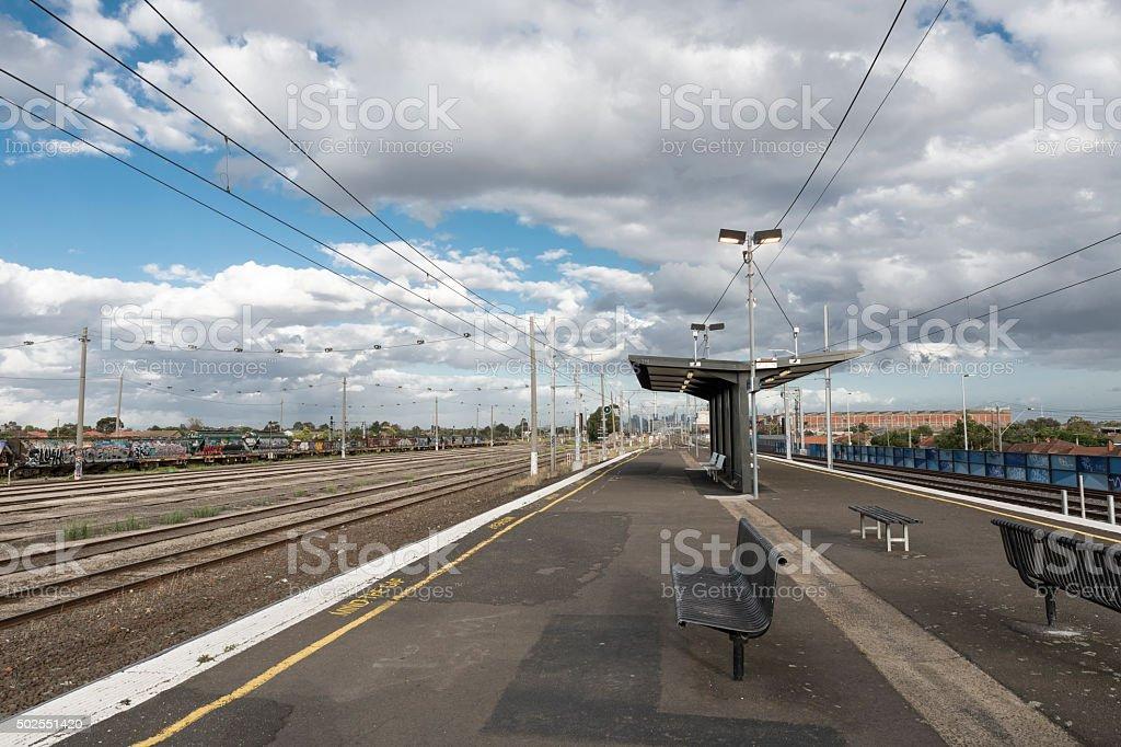 Empty Train Station stock photo