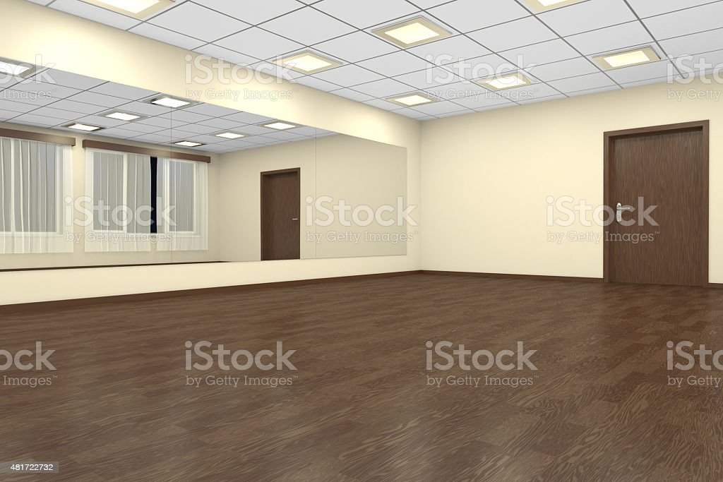 Empty training dance-hall at night stock photo