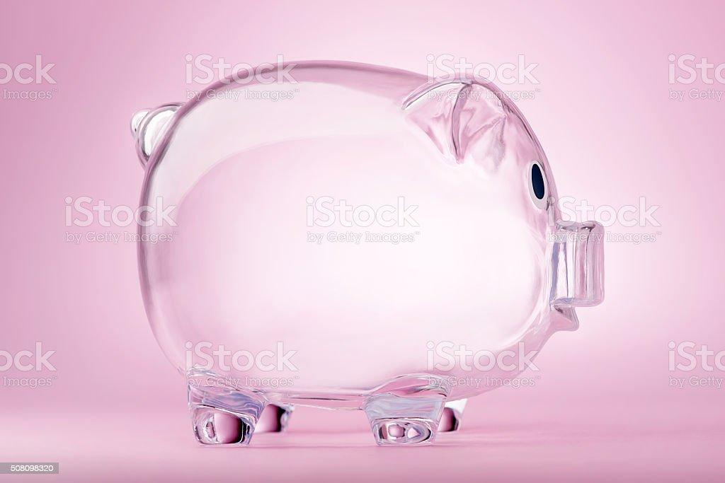 Empty transparent piggy bank stock photo