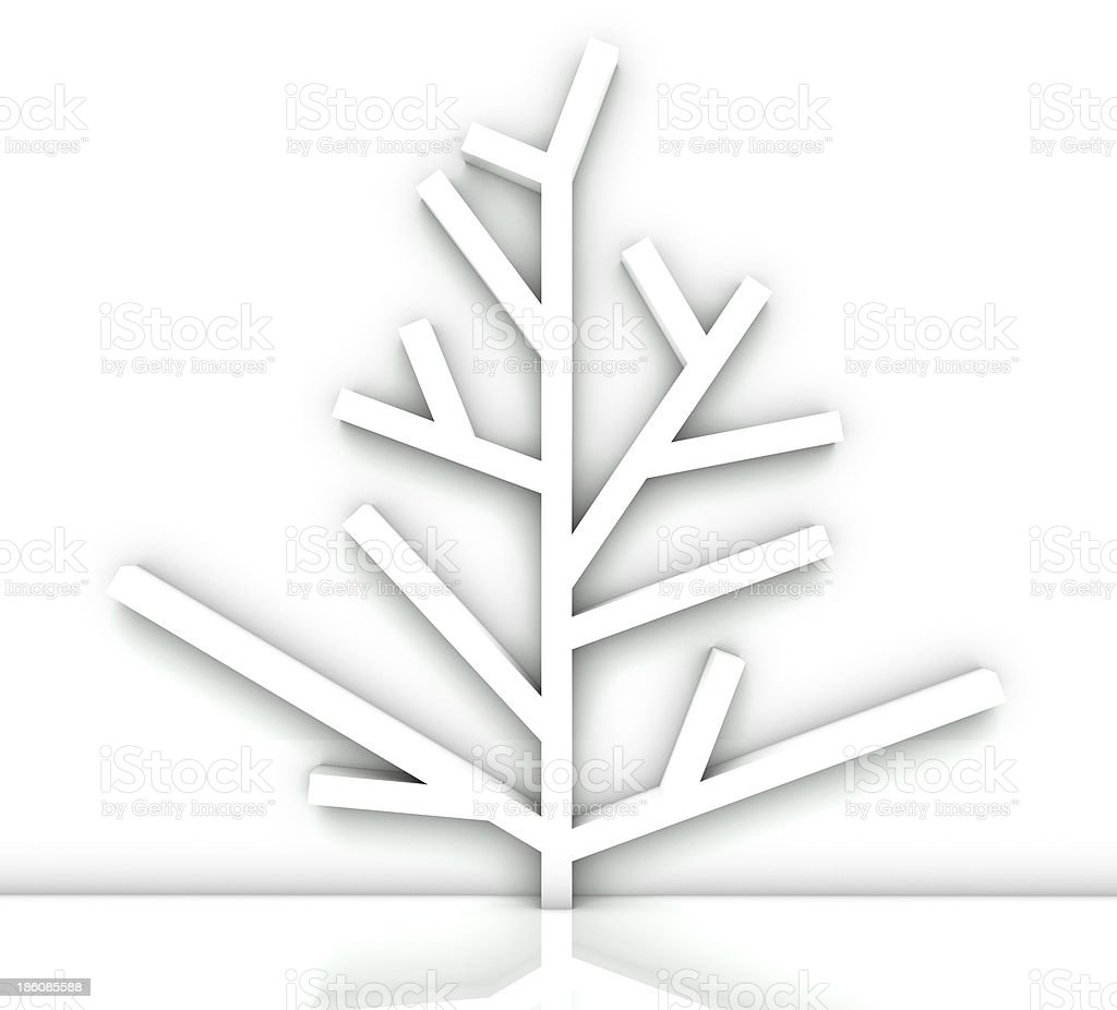 Empty tree bookshelf isolated white royalty-free stock photo