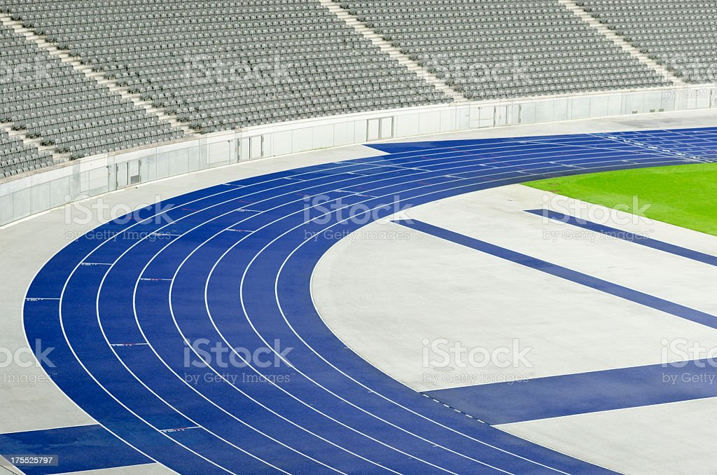 Empty tribunes and athletics track stock photo