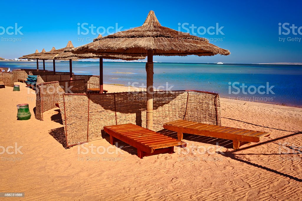 Empty tropical beach, Red Sea, Egypt stock photo