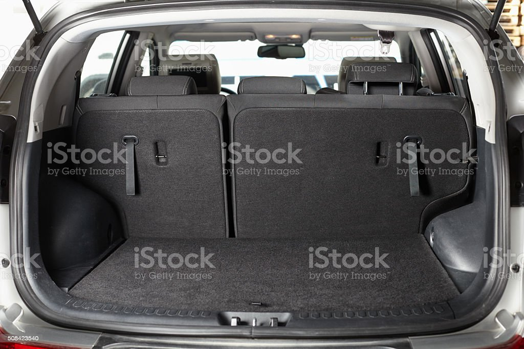 Empty trunk of the car stock photo
