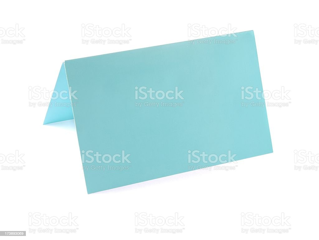 Empty turqouis Place Card isolated on white royalty-free stock photo