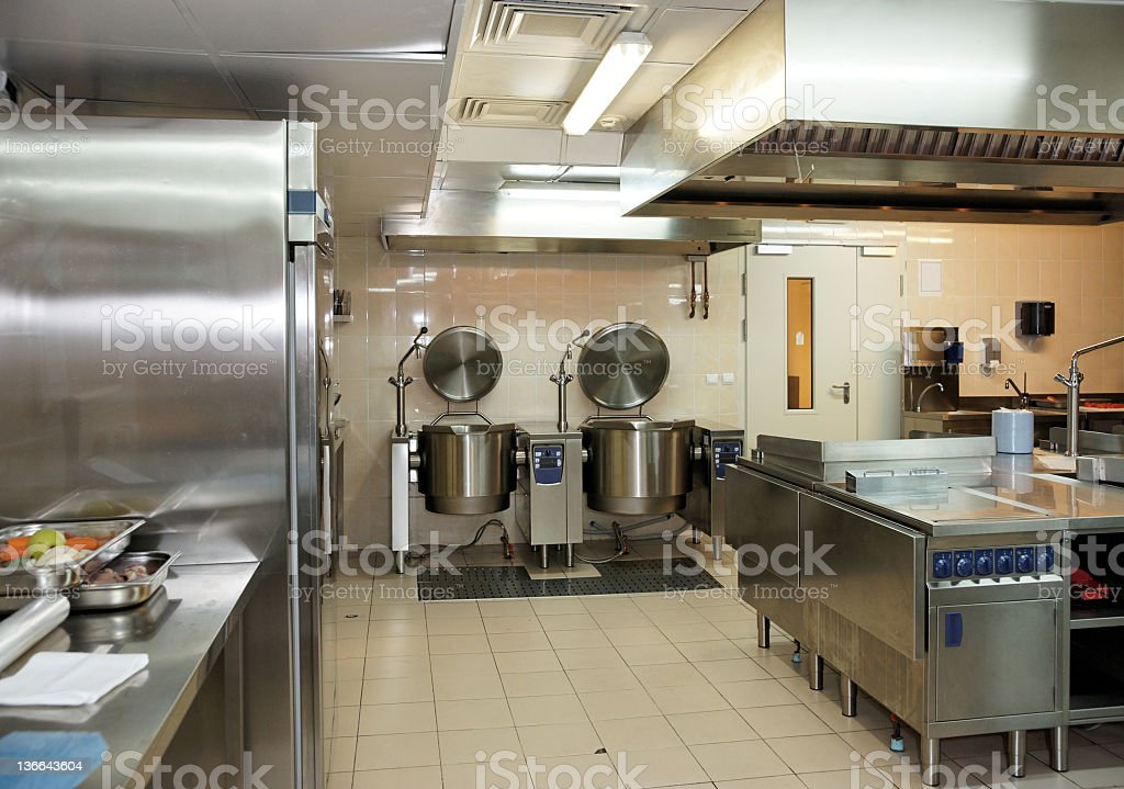 Empty typical restaurant kitchen royalty-free stock photo