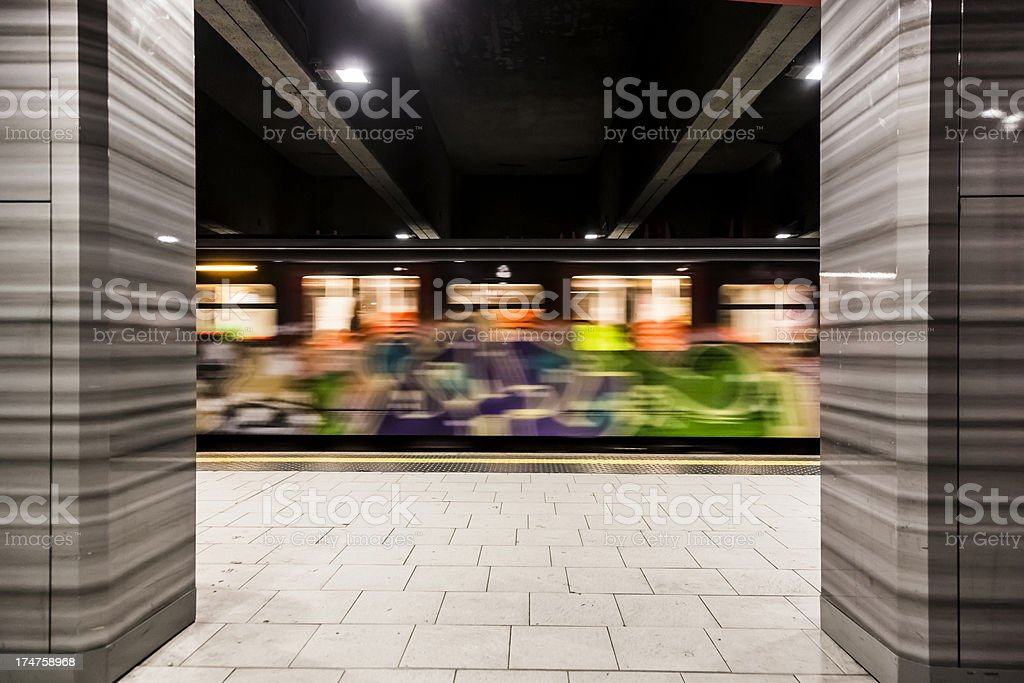 Empty underground metro station royalty-free stock photo