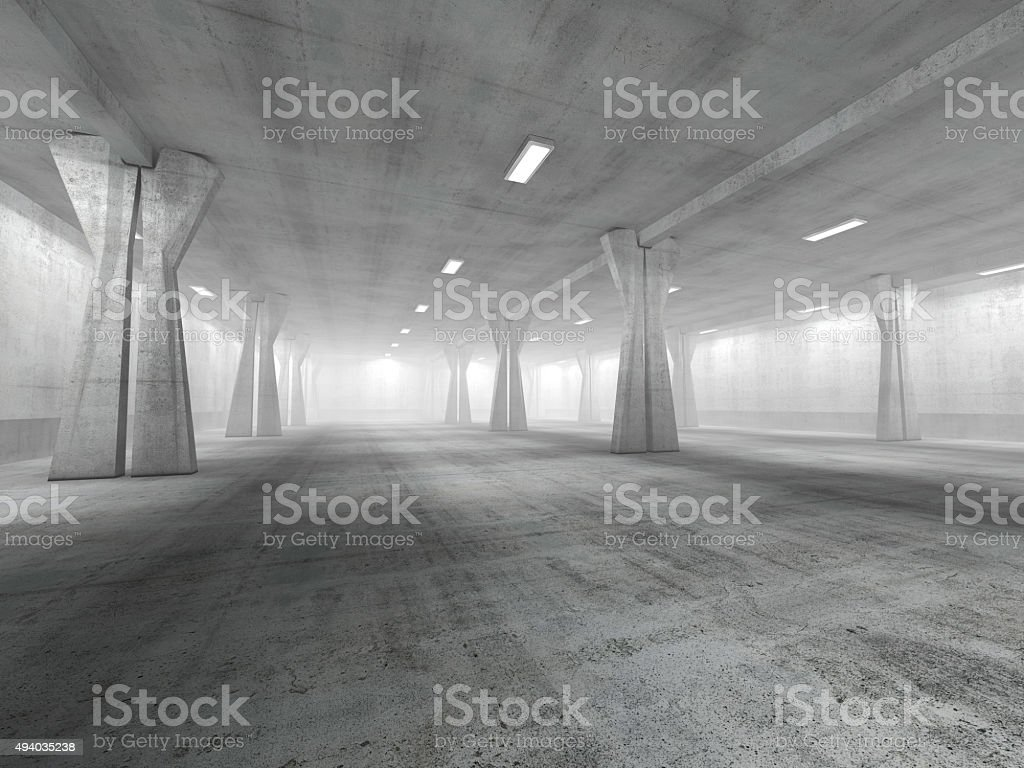 Empty underground parking area 3D rendering stock photo