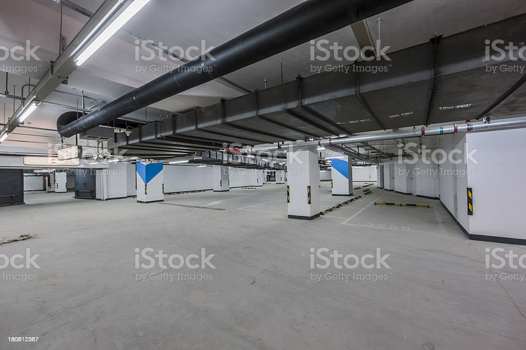 empty Underground Parking Lot royalty-free stock photo