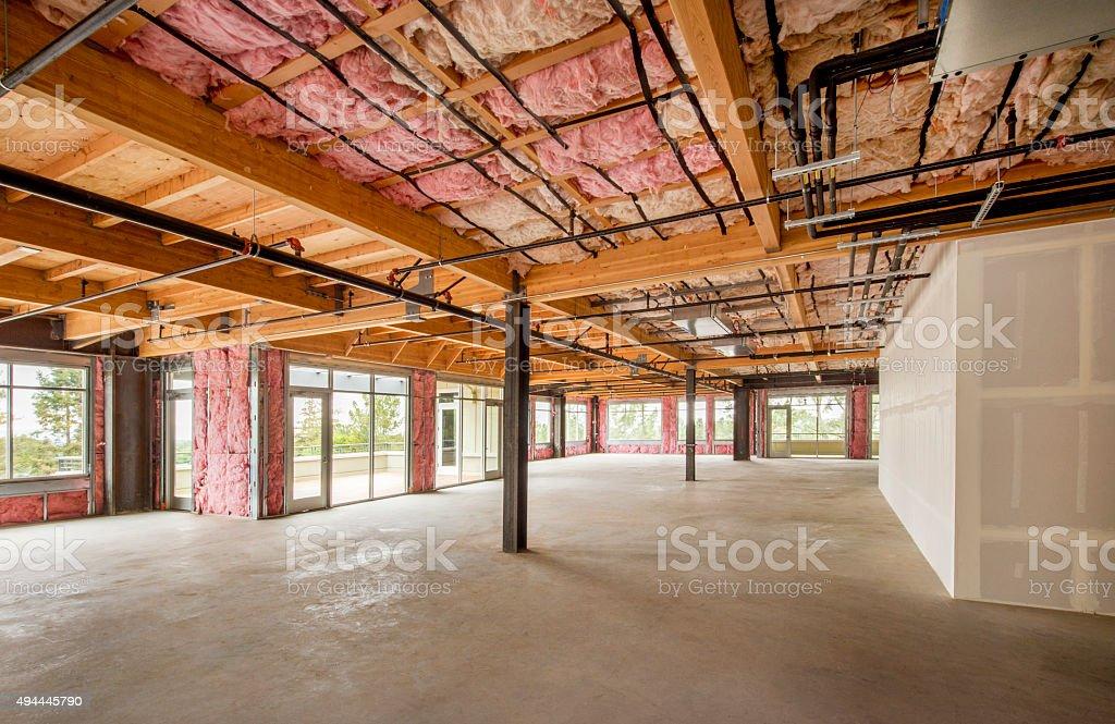 Empty Unfinished Office Space stock photo