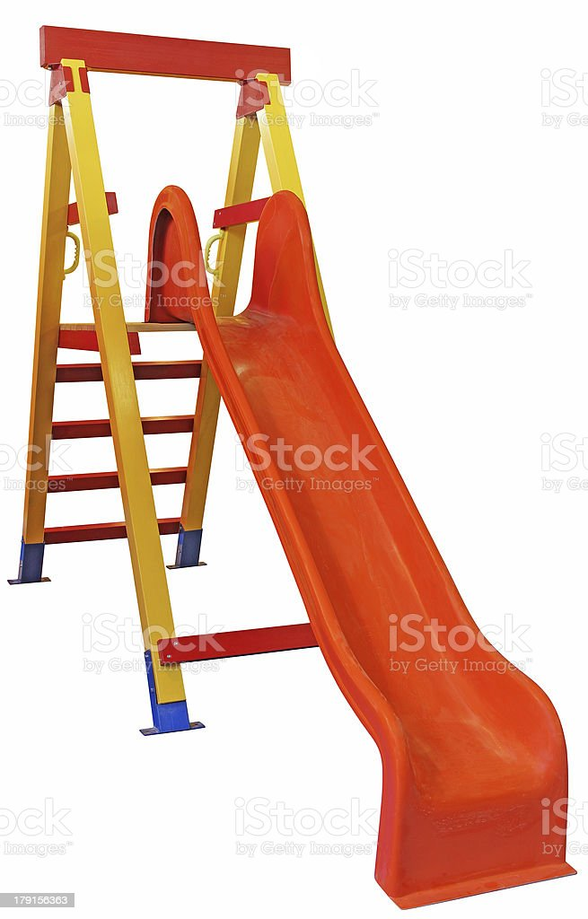 Empty uninhabited untouched children's slide stock photo
