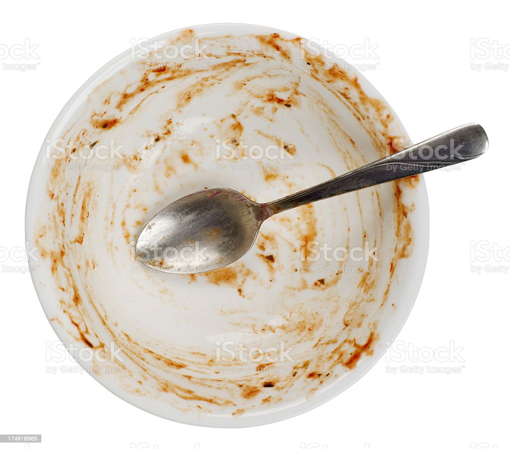 Empty Unwashed Dish and Spoon stock photo