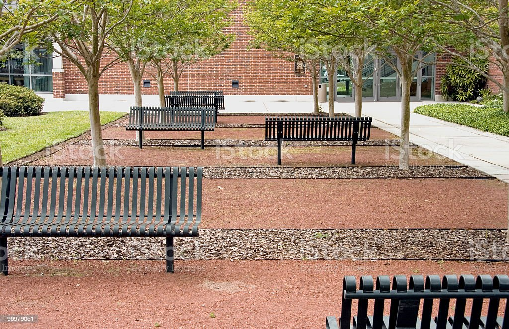 Empty Urban Park Benches by Office royalty-free stock photo