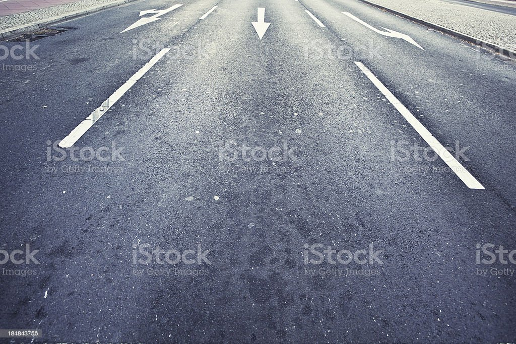 Empty Urban Road, Direction Sign on Asphalt royalty-free stock photo