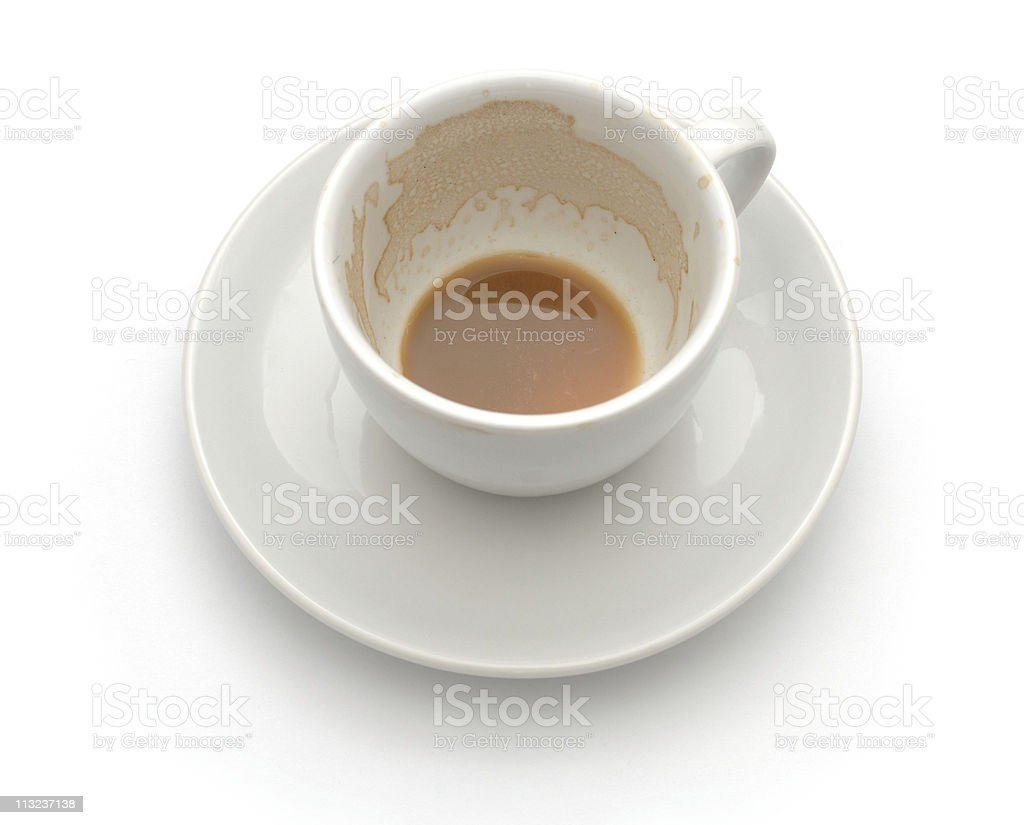 empty used coffee cup against white royalty-free stock photo