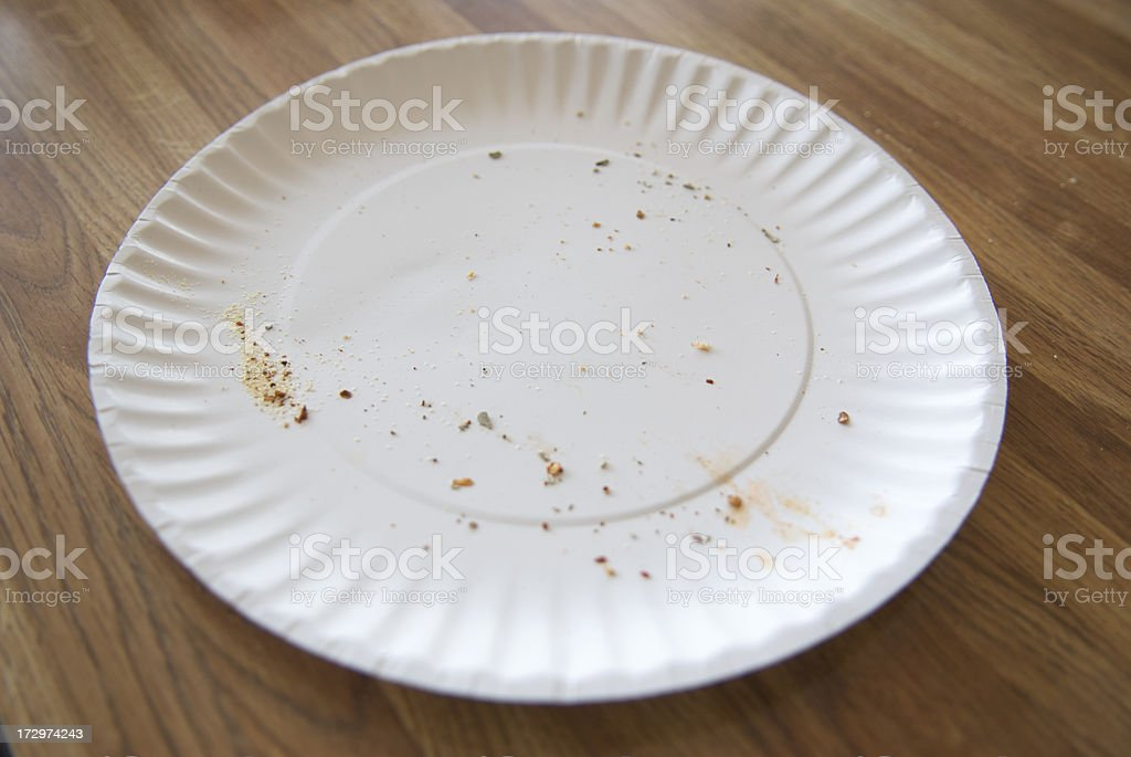 Empty Used Fast Food Paper Plate Grease and Crumbs stock photo