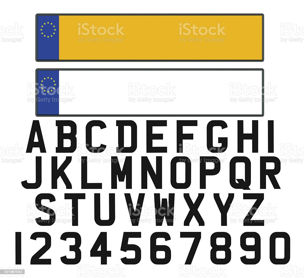 Empty vehicle registration plate with set of numerals and letter stock photo