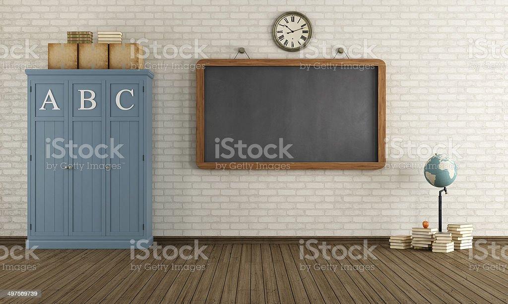 Empty Vintage classroom stock photo
