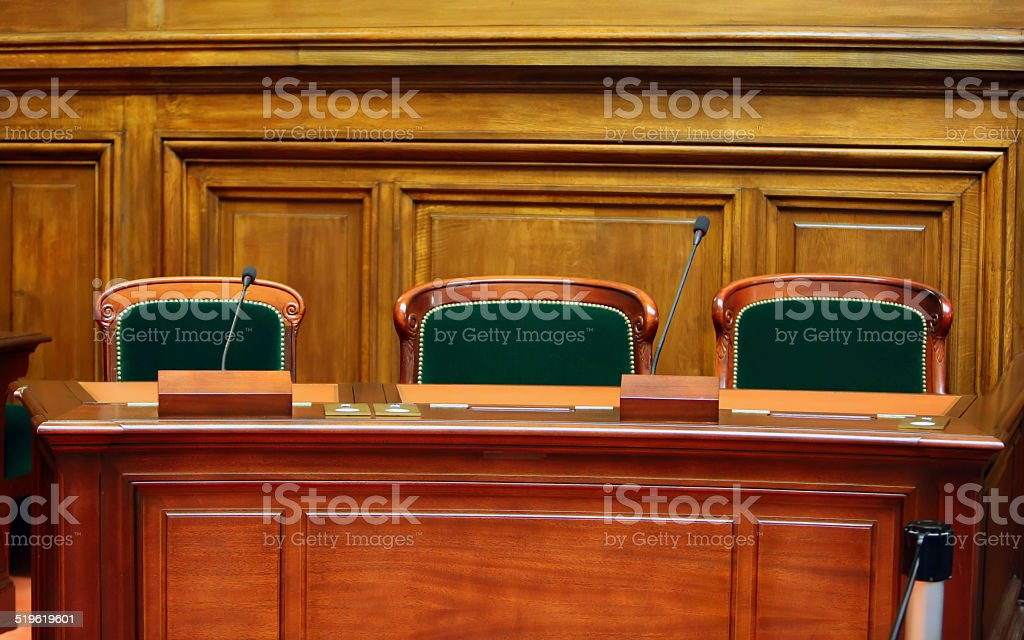 Empty vintage court's room stock photo