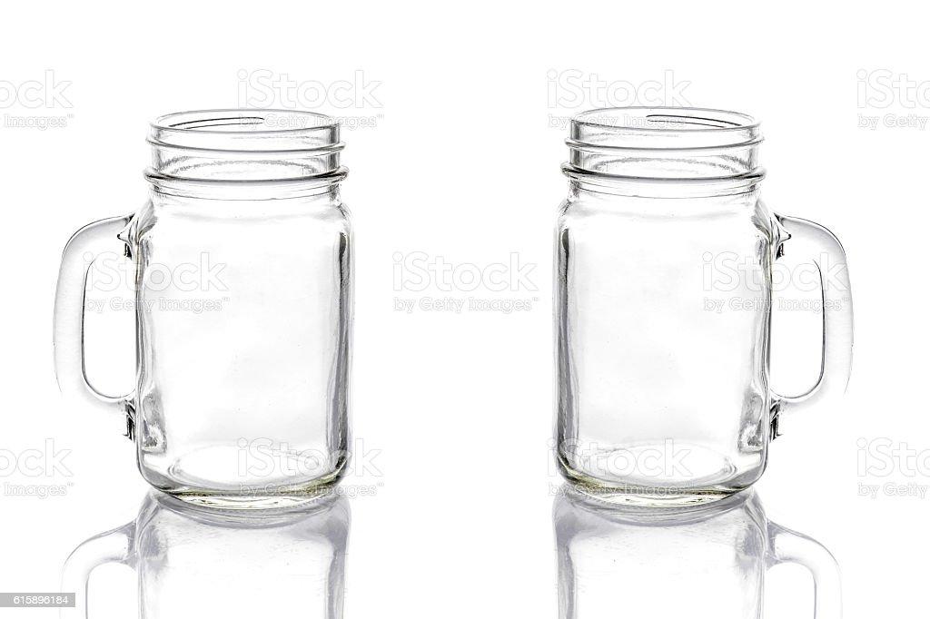 Empty vintage mason Jar on White background stock photo