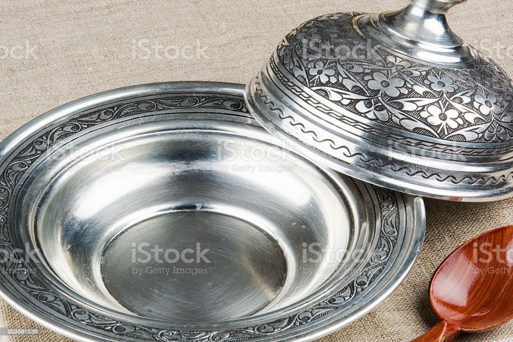 Empty Vintage plate on Country Style Background stock photo