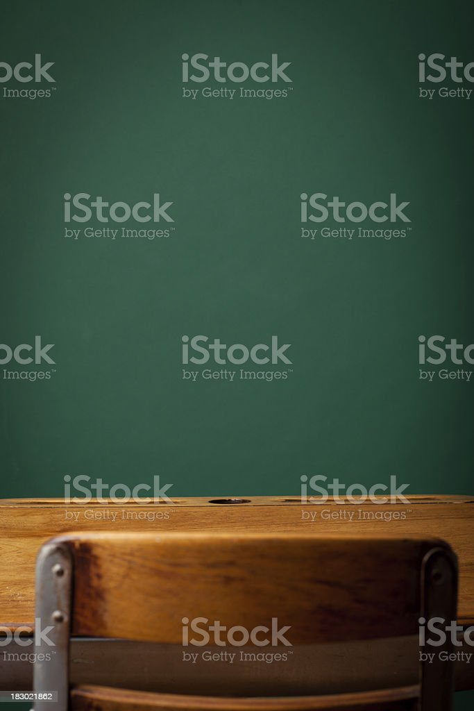 Empty Vintage School Desk in Front of Green Chalkboard royalty-free stock photo