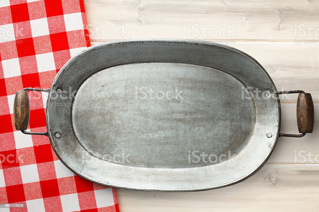 Empty Vintage Serving Tray on Country Style Background stock photo