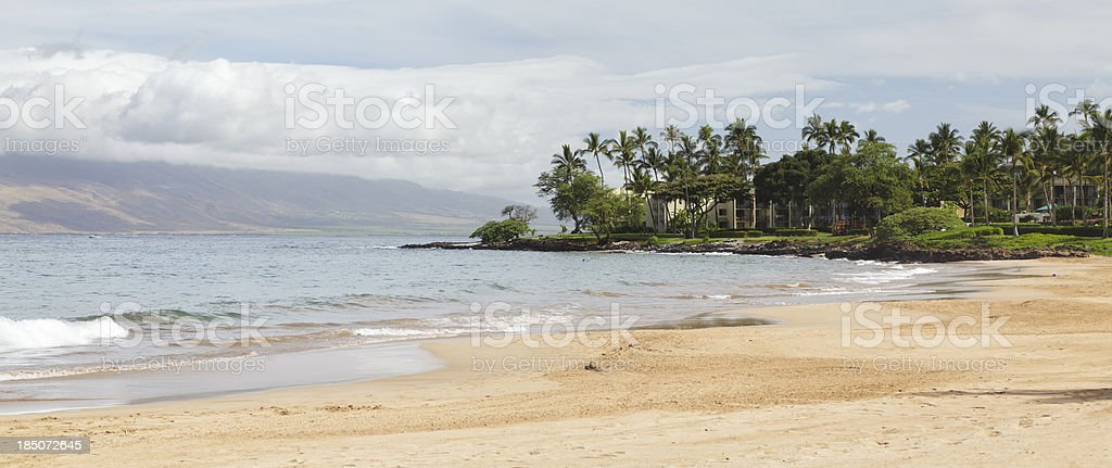 Empty Wailea Beach panorama, South Maui, Hawaii stock photo
