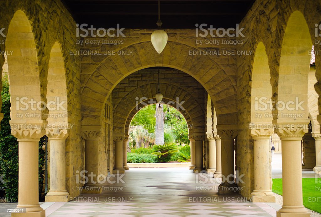 Empty walkway with columns at Stanford University stock photo