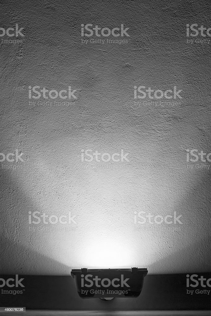 empty wall and exterior lighting stock photo
