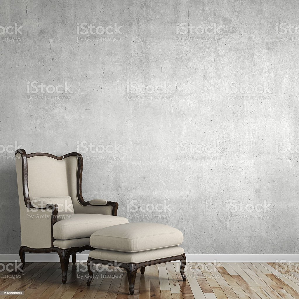 Empty wall behind classic chair stock photo