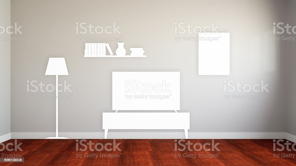 empty wall of the lost home equipment 3d illustration stock photo