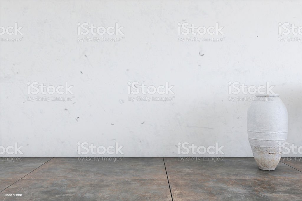 Empty wall with a vase on the right end stock photo