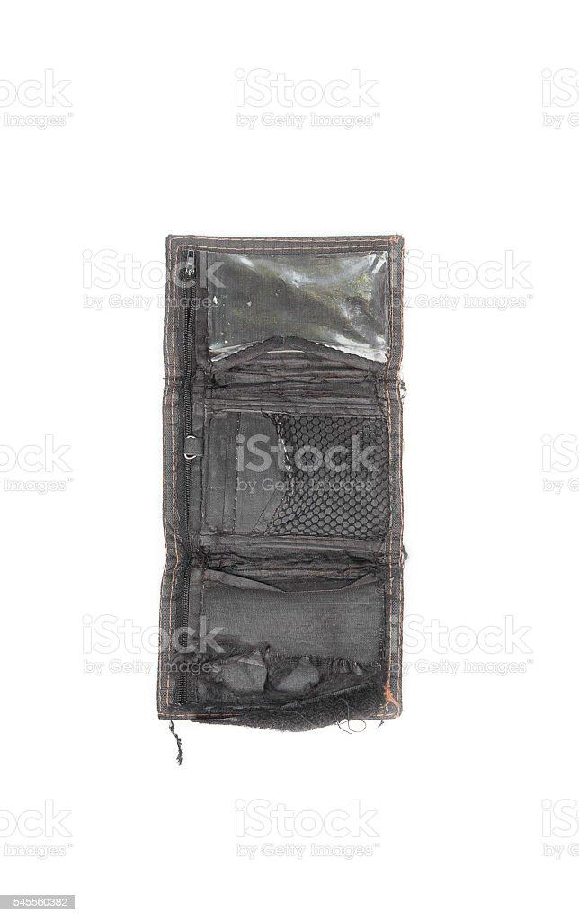 empty wallet black tear  on white background stock photo