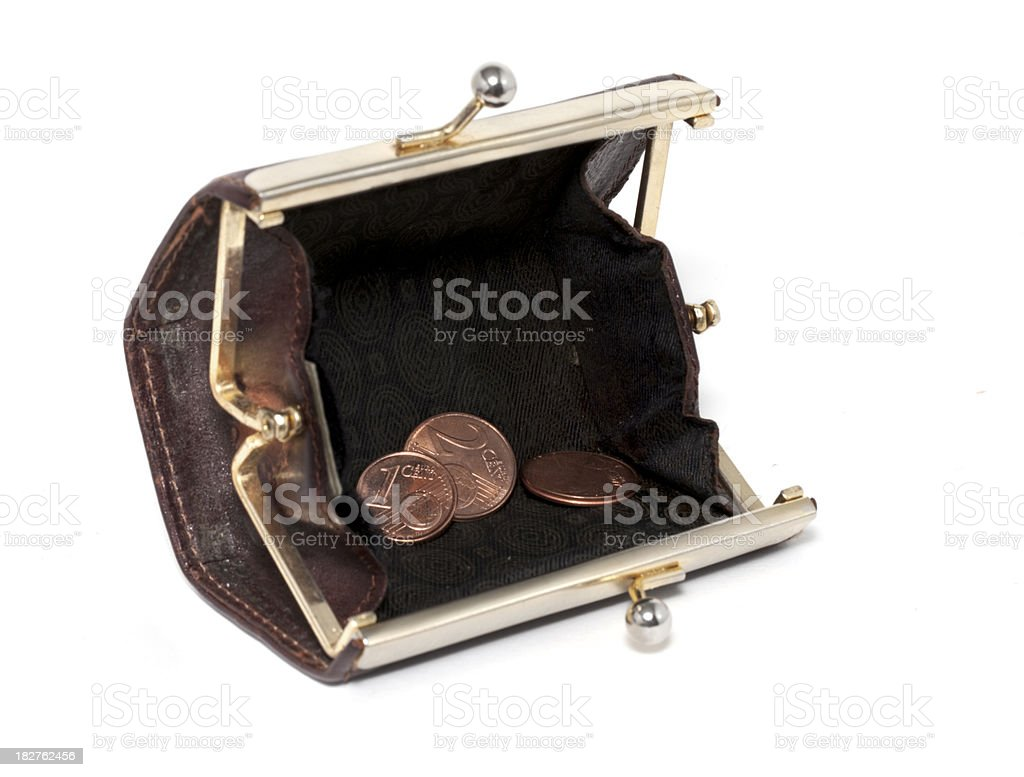 Empty Wallet end Last Coins stock photo