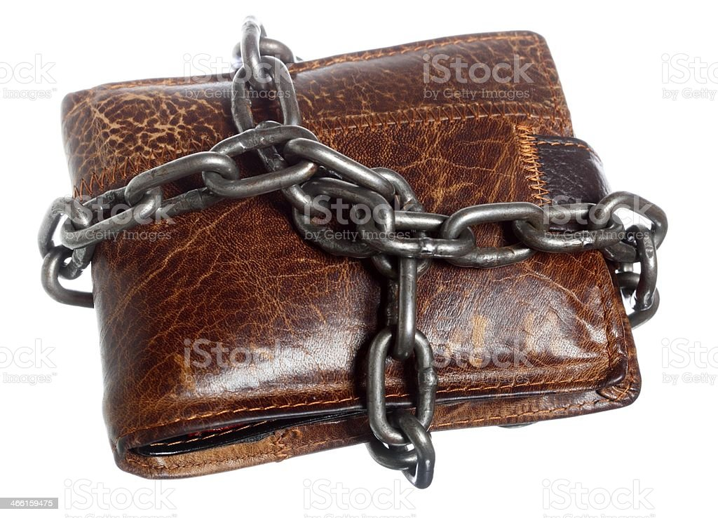 Empty wallet in chain - poor economy, end of spending stock photo