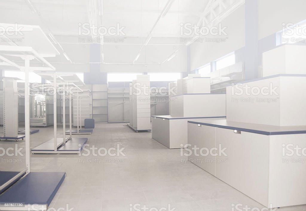Empty warehouse, racks, metal shelf, storage concept stock photo