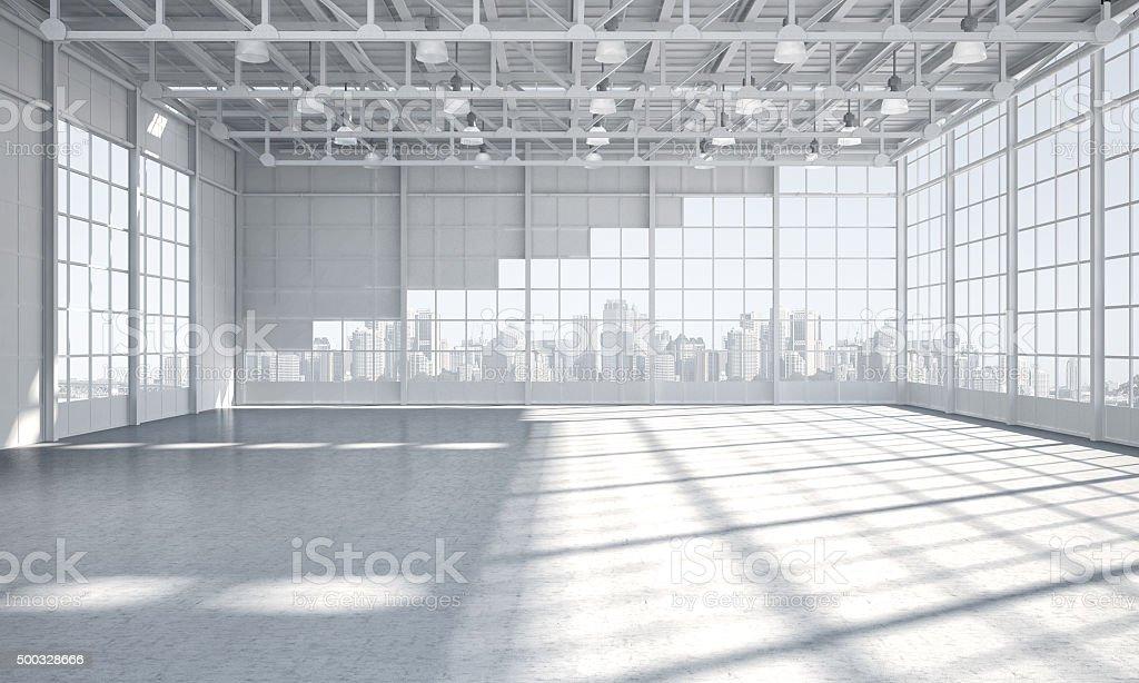 Empty warehouse showroom city skyline in background stock photo
