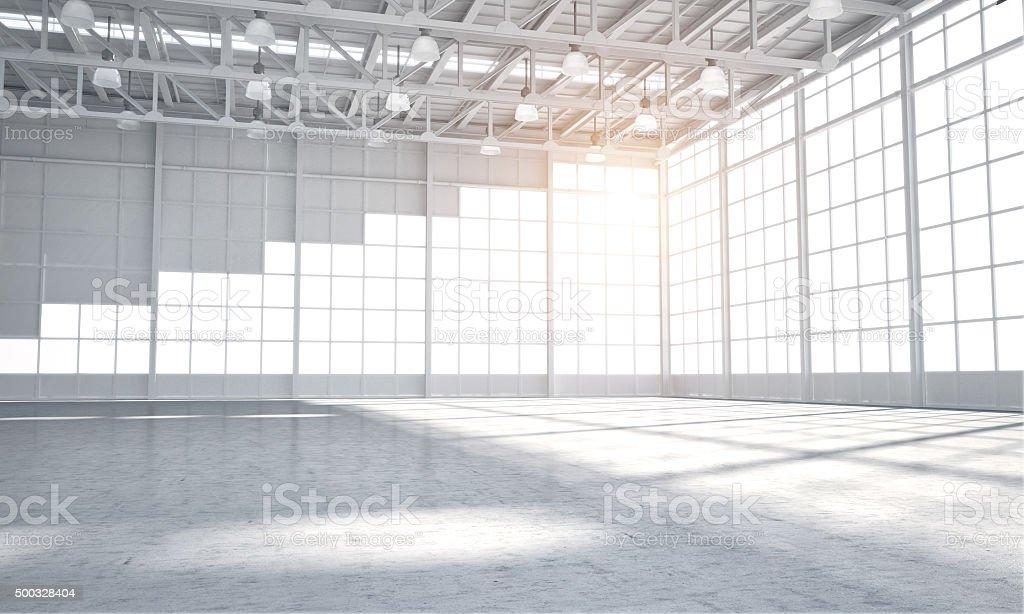 Empty warehouse showroom stock photo