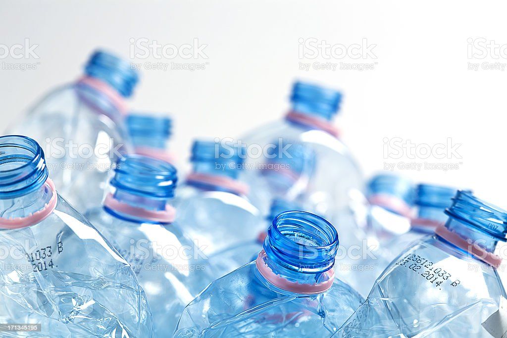 Empty water bottles stock photo