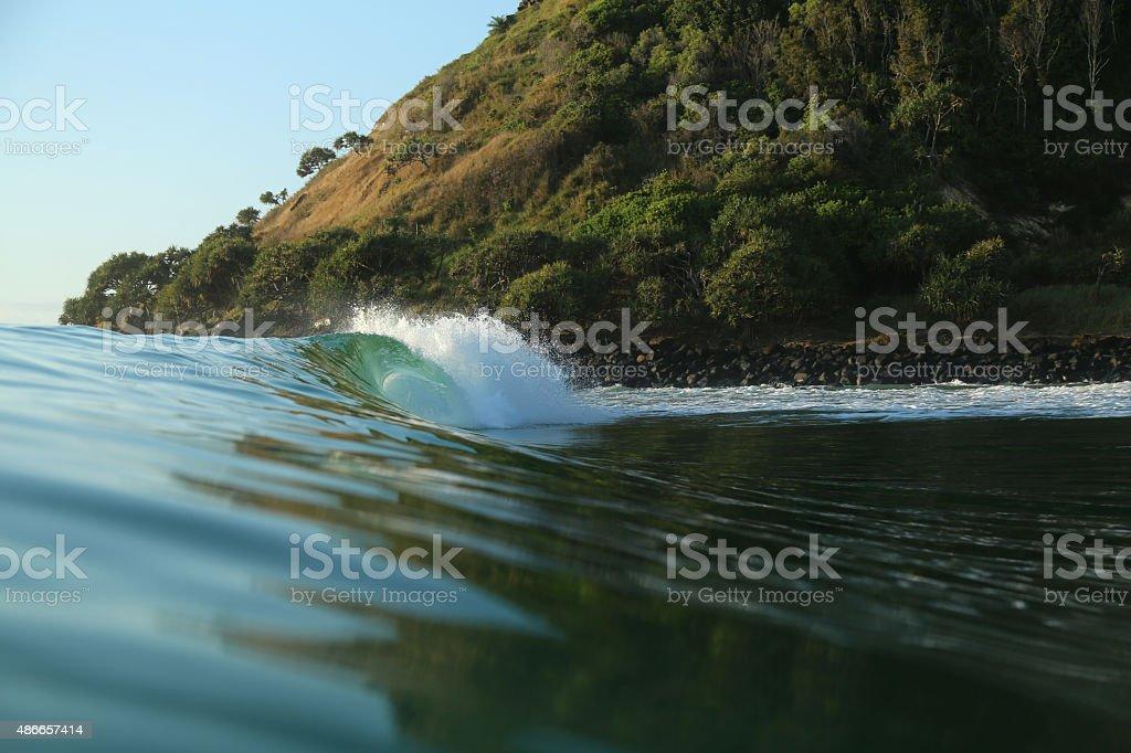 Empty wave at Burleigh Headland stock photo