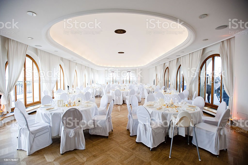 Empty wedding reception hall. stock photo